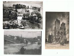 MARNE Et HAUTE MARNE - 52et 53 - LOT 3 CPA + CPSM - COLOMBEY Les DEUX EGLISES Boisserie  , DAMERY Pont Détruit , REIMS - France