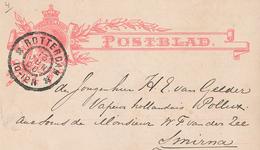 Rotterdam 1900 Nach Rs.: Ankunftstempel Smirna Smyrna Deutsche Post - Dampfer Pollux Van Gelder - Van Der Zee - Periode 1891-1948 (Wilhelmina)