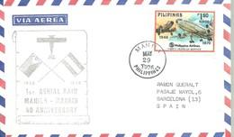 CARTA 1976  POSTMARKET    MANILA  MADRID - Philippines