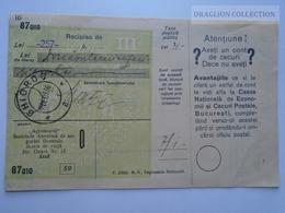 ZA188.21  Deposit 257 Lei - 1937-Romania Ghiorok Jud. Arad -Buletin De Varsamant Christ Mihály Jegyző  Minis - Chèques & Chèques De Voyage