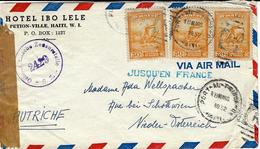 """1952- Env. Par Avion De Port Au Prince Pour L'Autriche Avec Griffe """" JUSQU'EN FRANCE """"  + Censure Autrichienne - Haïti"""