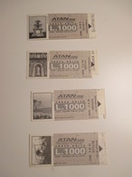 ATAN Napoli Biglietto Corsa Unica L. 1000 GRIGIO Monumenti Monuments Differenti N.4 Differenti Palazzo Reale - Bus