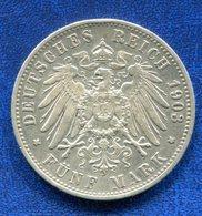 PIECE 5 MARK WUERT 1903 - [ 2] 1871-1918: Deutsches Kaiserreich