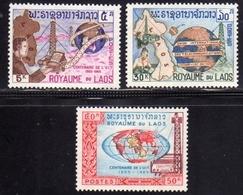LAOS LAO 1965 ITU CENTENARY CENTENAIRE DE L'UIT CENTENARIO COMPLETE SET SERIE COMPLETA MNH - Laos