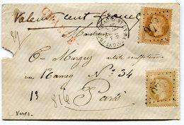 HAUTE MARNE De CHAUMONT EN BASSIGNY Env. CHARGEE Du 16/07/1870 Avec N°28+N°31 Oblitérés GC 978 ( 2 Scans) - Postmark Collection (Covers)