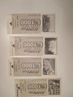 ATAN Napoli Biglietto Corsa Unica L. 1000 GRIGIO Monumenti Monuments Differenti N.4 Differenti Palazzo Reale - Europa