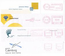 Niederlande 4 Freistempel Tilburg, Zoutermeer, Den Haag, Culemborg - Museum, Logo - Meterstamp, EMA - Poststempel - Freistempel