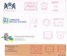 Niederlande 4 Freistempel Zundert, Roggel, Schermer, Duiveland - Van Gogh, Wappen, Landkarte - Meterstamp, EMA - Poststempel - Freistempel