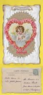 CPA Fantaisie ENGEL ֎ ANGE ֎ Coeur Rouge ֎ Bonne Et Heureuse Année ֎ 1905 ֎ Style Papier Nacré ֎ Découpis - Anges
