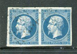 Superbe Paire De N° 14A - Variété Sous Le Cou - 1853-1860 Napoleon III