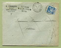 """PONT-A-MOUSSON  (54) : """" Type SAGE Avec """" RETOUR A L'ENVOYEUR  2924 """"  1890 - Marcophilie (Lettres)"""
