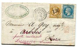 PYRENNES ORIENTALES DE ST LAURENT DE LA SALANQUE LAC Pour ARBOIS Redirigée Vers La SUISSE( Lire Descriptif) - Postmark Collection (Covers)