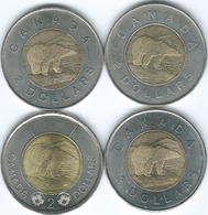 Canada - Elizabeth II - 2 Dollars - 1996 (KM270) 2003 (KM496) 2009 (KM834) 2017 (KM1257) - Canada