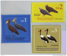 SOUTH SUDAN  1, 2 And 5 SSP Stamps. Storks, Vultures,  BIRDS ! Oiseaux = SOUDAN Du Sud = Südsudan - Pájaros