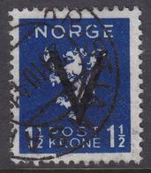 NORWAY 1941, V-overprint 1,50 Kr Without Wmk. Canc. Kristiansand S Oct.1941 - Mi.# 254y - Noruega