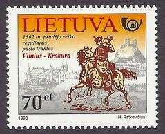 Lithuania / Lietuva 1998 Postal History - Horse, Castles, Chateaux, Postman On Horseback MNH - Lituanie