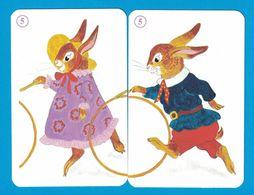 2 CARTES LAPIN  / AU DOS CHAT - Cartes à Jouer Classiques