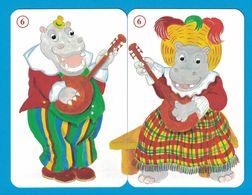 2 CARTES HIPPOPOTAME  / AU DOS CHAT - Cartes à Jouer Classiques