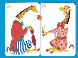 2 CARTES GIRAFE  / AU DOS CHAT - Cartes à Jouer Classiques