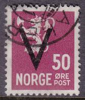 NORWAY 1941, V-overprint 50 øre Without Wmk. Canc. Oct.1941 - Mi.# 251y - Noruega