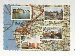 Cp,  Carte Géographique , SUEDE , MALMÖ , Voyagée 1966 , 2 Scans - Cartes Géographiques