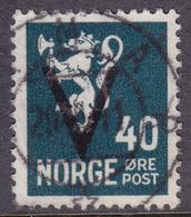 NORWAY 1941, V-overprint 40 øre Without Wmk. Canc. Hamar Oct.1941 - Mi.# 250y - Norway