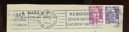 FRANCE - M. DE GANDON - N° Yvert 883 + 722 SUR ENVELOPPE (PARIS XVI 1952) - 1945-54 Marianne De Gandon