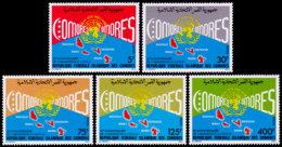 Comoros, Comores, 1985, Membership Of The United Nations, MNH, Michel 753-757 - Comores (1975-...)
