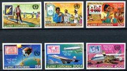 Comoros, Comores, 1976, United Nations, UNPA, Concorde, Zeppelin, Space, MNH Imperforated, Michel 298-303B - Comores (1975-...)