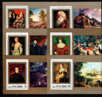 Comoros, Comores, 1977, Rubens, Paintings, Art, MNH Sheets, Michel 460-465A - Comores (1975-...)