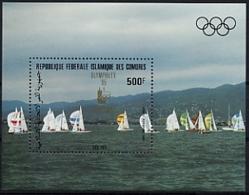 Comoros, Comores, 1985, Olympic Summer Games Los Angeles, Sailing, Olymphilex, MNH Overprint, Michel Block 241 - Comores (1975-...)