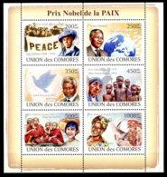 Comoros, Comores, 2009, Nobel Peace Prize, Mandela, Kofi Annan, United Nations, Mother Theresa, MNH, Michel 2072-2077 - Comores (1975-...)