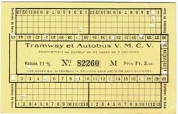 Tramway Et Autobus V.M.C.V. Vevey/Montreux/Chillon/Villeneuve. Abonnement Suisse. - Abonnements Hebdomadaires & Mensuels