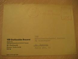 GREIFSWALD 1976 Greifswalder Brauerei Meter Mail Cancel Cover GERMANY Beer Pint Biere Bier Cerveza Brewery - Biere