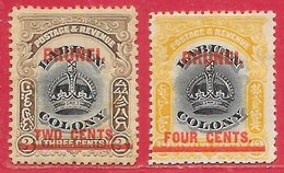 Brunei N°2 2c Sur 3c Sépia & Noir & N°5 4c Sur 12c Ocre & Noir 1906 (dentelé 14) * - Brunei (...-1984)