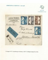 LUXEMBOURG BELGIUM COMBINATION COVER AIR 1937 GERMANY BERLIN - Covers & Documents