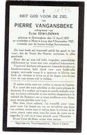 Denterghem.  Mont-à- Leux.  Pierre Vangansbeke. 1859 - 1927. **** - Décès