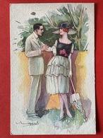 Illustrateur BOMPARD - KOPPEL - DAME MET GROTE HOED EN PARAPLU - FEMME GRAND CHAPEAU ET PARAPLUIE - Bompard, S.