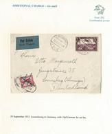 LUXEMBOURG GERMANY COMBINATION AIR COVER 1932 RAILWAY POST - Brieven En Documenten