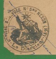 Devant D ' Enveloppe 16 / 11,5 Cm : Cachet Peu Courant - Hopital Benevole N° 5 Bis Nexon Haute Vienne - Guerre De 1914-18