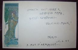 Mucha Gismonda Original Posted In 1899 By Eugenie Munk/ Ed. Cinos/ Art Nouveau Litho Postcard Signed - Mucha, Alphonse