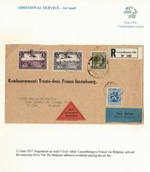 LUXEMBOURG BELGIUM COMBINATION COVER NACHNAHME LILLE FRANCE 1937 - Covers & Documents