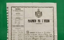 D-IT PASSAPORTO Regno D'Italia GUALTIERI - GUASTALLA (Reggio Emilia) 1878 - Documenti Storici