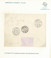 LUXEMBOURG GERMANY COMBINATION COVER AIR TRIER DRESDEN 1933 - Luxembourg