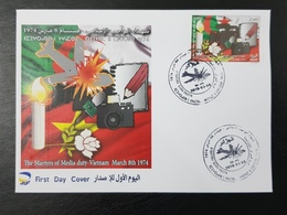 ALGERIE ALGERIA 2019 VIETNAM FLAGS MARTYRS MEDIA PRESS JOURNALISM PLANE CRASH - CAMERA MICROPHONE CANDLE ROSE PENCIL FDC - Algérie (1962-...)