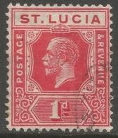 St Lucia. 1921-30 KGV. 1d Used. Mult Script CA W/M SG 92 - St.Lucia (...-1978)