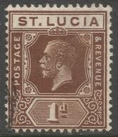 St Lucia. 1921-30 KGV. 1d Used. Mult Script CA W/M SG 93 - St.Lucia (...-1978)