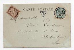 - Carte Postale COMPIEGNE (Oise) Pour AUBERVILLIERS 20.04.1904 - Taxée 10 C. Brun Type Duval - A ETUDIER - - Segnatasse
