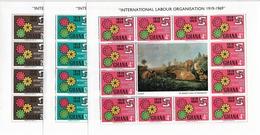 GHANA 1970, ILO Emblem Complete Set In Mini Sheets,Sc # 375-377,VF MNH** (RN-7) - Ghana (1957-...)