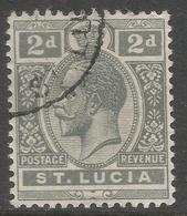 St Lucia. 1921-30 KGV. 2d Used. Mult Script CA W/M SG 95 - St.Lucia (...-1978)